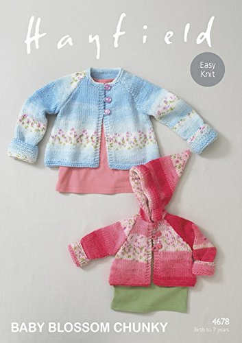 Sirdar Hayfield 4678 Knitting Pattern Baby Girls Easy Knit Coats in Hayfield Baby Blossom Chunky by Sirdar