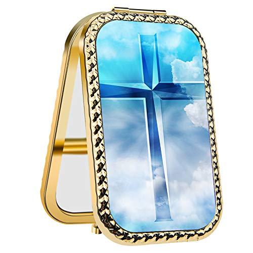 Specialized Design Rectangle Golden Celeste Cross Portable makeup mirror, Travel Compact Portable Pocket Folding Makeup Vanity Cosmetic Mirror for Women