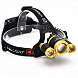 Brightest and Best LED Headlamp 10000 Lumen flashlight - IMPROVED LED, Rechargeable 18650 headlight flashlights, Waterproof Hard Hat Light, Bright Head Lights, Running or Camping headlamps