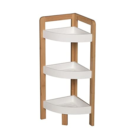 BAMBOO 3 TIER BATHROOM FREE STANDING SHOWER CORNER CADDY TIDY ORGANISER  SHELVES
