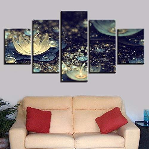 キャンバス絵画5ピース美しい川ランタン夜景ポスターリビングルームの壁の装飾印刷写真40X60Cmx2 40X80Cmx2 40X100Cmx1フレームなし