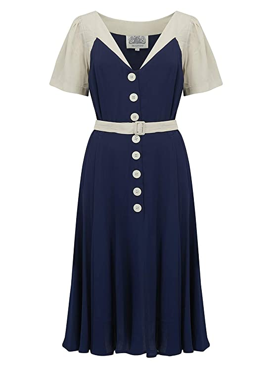 1940s Dresses | 40s Dress, Swing Dress 1940s Authentic Vintage Style Clothing The Seamstress of Bloomsbury Rosalyn Dress in Navy with Contrast Ivory  £79.00 AT vintagedancer.com