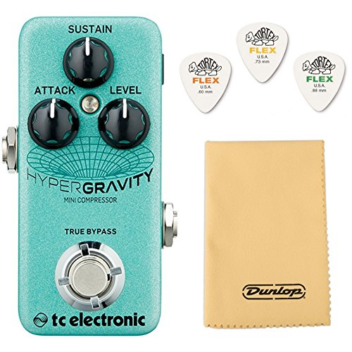 TC Electronic Hypergravity Mini Compressor Bundle w/Dunlop Cleaning Cloth and 3 Dunlop Tortex Flex Picks by TC