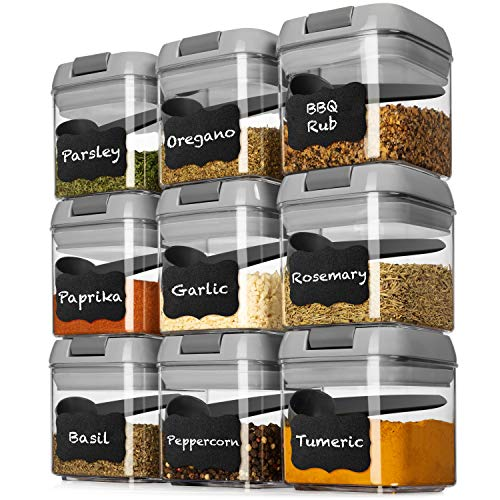 Shazo Airtight 9 Pc Mini Container Set + 9 Spoons, Labels & Marker – Durable Clear Plastic Food Storage Containers with…