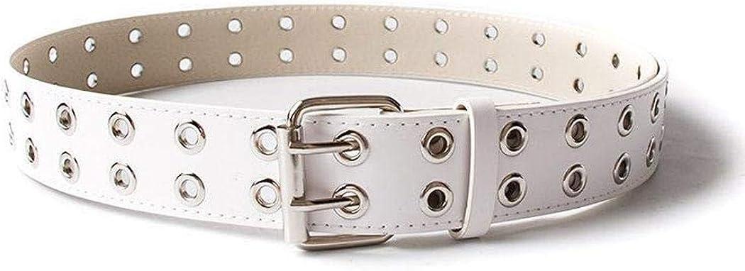 Erholi Men Casual Solid Hole Double Pin Buckle Adjustable Leather Waist Belt Belts