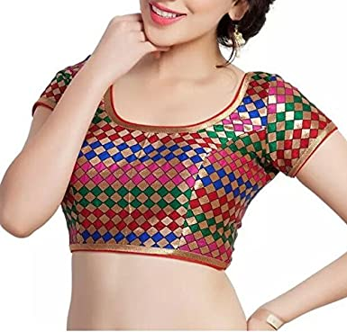 85a9a3bb25a726 SINGAAR Readymade Blouse for Women Silk Saree Blouse Stitched RED ...