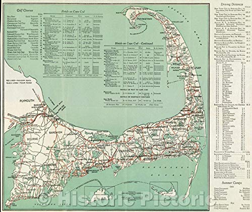 Map - Welcome to Cape Cod Road Map and Directory. Published by Cape Cod Chamber of Commerce and Cape Cod, Martha's Vineyard and Nantucket Hotel Assn, Vintage Poster Art Wall Décor - 44in x 37in