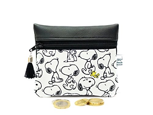 (Snoopy coin purse, Peanuts mini wallet, Small change, Card holder, Zipper pouch, Vegan faux leather, Teacher gift, Earbud case, Key bag)