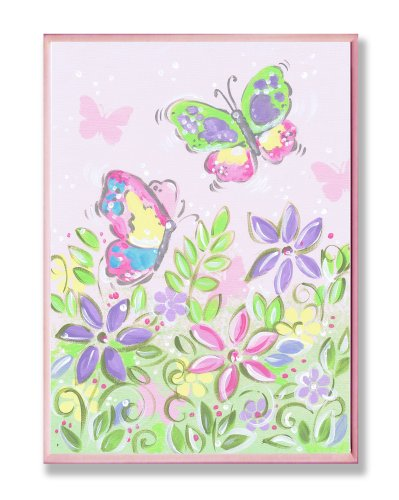 Green Butterfly Nursery Decorations - The Kids Room by Stupell Pastel Butterflies and Flowers Rectangle Wall Plaque