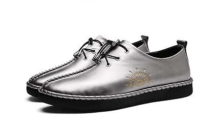 Herrenschuhe Leder Business Casual Schuhe Frühling Neue Flut Schuhe Jugend Weiche Sohle Schuhe (Color : Silber, Größe : 43) MYI