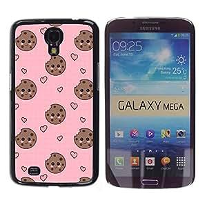 YOYOYO Smartphone Protección Defender Duro Negro Funda Imagen Diseño Carcasa Tapa Case Skin Cover Para Samsung Galaxy Mega 6.3 I9200 SGH-i527 - cara del corazón de galletas smiley rosado dulce