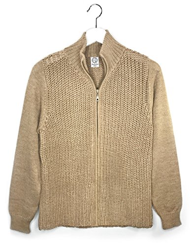 Women's 100% Alpaca Cardigan Sweater - Moto Style with Zip Closure (Small, Sandstone) by Incredible Natural Creations from Alpaca - INCA Brands