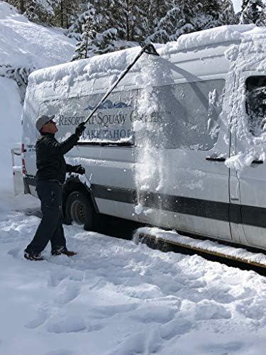 SnoShark-XL 雪と氷除去ツール - 54インチまで延長可能 (2つのロック位置) - 折りたたみ式 便利 収納 - 高耐久 & 耐久性 - フォームパッドが傷を防止
