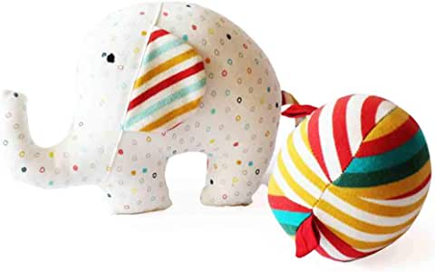Shumee- Elephant and Ball Plush Fabric Toy for Babies Textured Developmental Ball with Rattle for Newborns, Infants, Sensory and Fine Motor Skills (Age 0-6 Months)