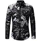 Men's Print Shirt Winter Retro Floral Business Banquet Long Sleeve Blouse Tops Zulmaliu (2XL, Black)