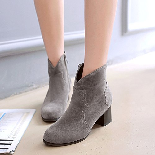 CHFSO Womens Fashion Solid Round Toe Zipper Mid Chunky Heel Ankle Boots Gray dLRKF