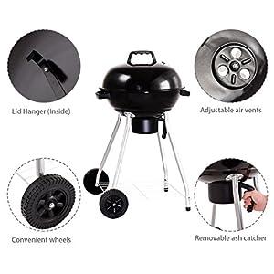 Giantex Kettle Charcoal Grill w/ Wheels Shelf Temperature
