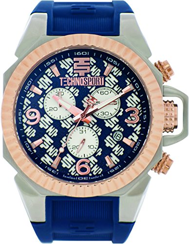 technosport-ts-100-4rl-womens-navy-blue-silicone-band-gold-bezel-40mm-blue-dialstainless-steel-chron