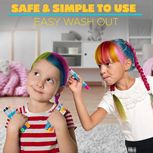 HAIR CHALK FOR GIRLS – & BOYS, 12 Temporary Hair Color for Kids, Vibrant & Washable Hair Dye Pens, Works on Dark or Blond Hair, Perfect Birthday Gift Set, Girls Hair Accessories Toy Crayons by Blue Squid (Image #3)