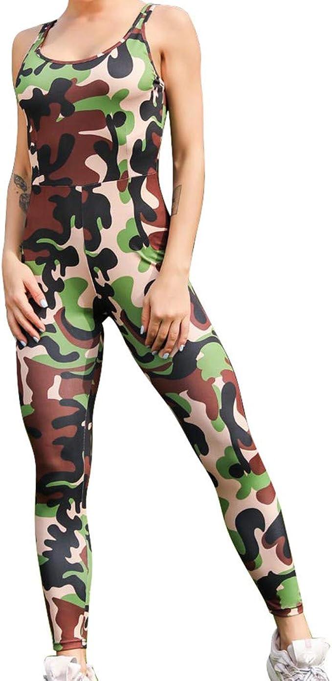 Combinaison Femme Gym Yoga Camouflage Une Pièce Slim Legging Sport Pantalon Amazon Fr Vêtements Et Accessoires