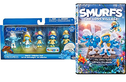 The Smurfs Exclusive Collectors Set 5-Pack Mini Figures & The Lost Village DVD Animated Movie