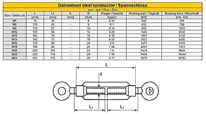Spannschloss /Öse /Öse M14 verzinkt Spannschraube Spannschl/össer 1 Stk