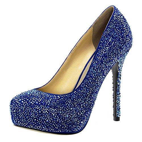 Heels-Perfect - Zapatos de vestir de cuero para mujer azul azul azul - azul