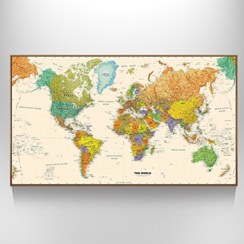 Creative Art - Large Size World Map Wall Art - Natural Framed Art Print Picture Wall Decor Home Interior - Map Picture with Floater Frame for Office Wall Decor (Large Detailed World Map Poster compare prices)