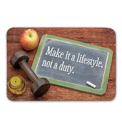 TecBillion Fitness Front Door Mat,Make It a Lifestyle Not a Duty Chalkboard Apple Dumbbell Tape Measure on Wood Print Doormat for Inside or Outside,31.5
