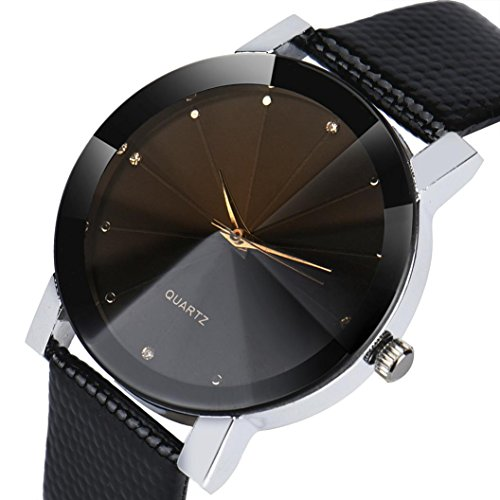 lage Belt Watch Luxury Quartz Sport Military Stainless Steel Dial Leather Band Waterproof (B) ()