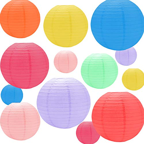 Paper Lanterns Decorative Japanese Lanterns Ball/Aycean 16 x Balloons Paper Lanterns Lights with 32 x Waterproof Led Lights for Home