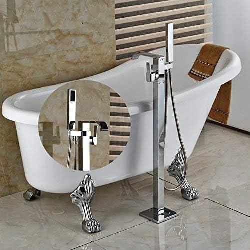 YASE-king 蛇口クローム仕上げ床Wountedのシャワーの蛇口シングルハンドルMixetタップするだけでハンドシャワー、ダークカーキ
