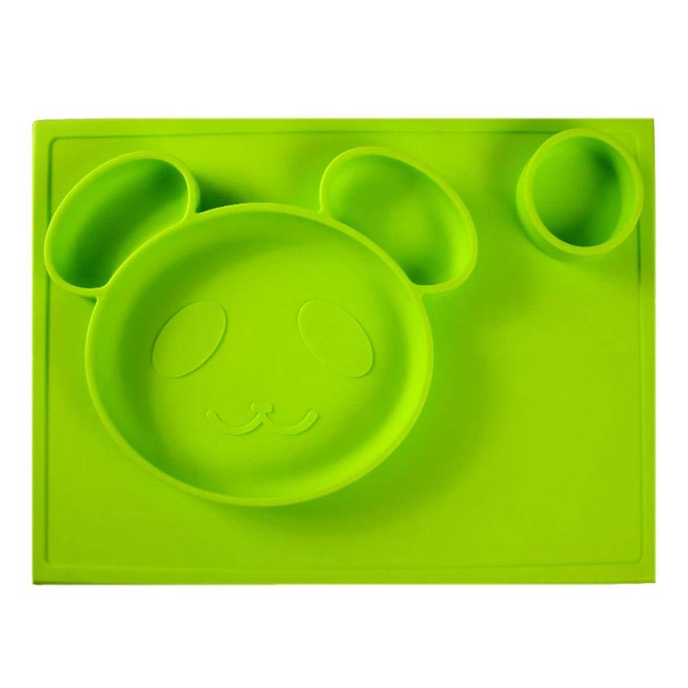 Liteness Panda Happy Placemat, Silicone Placemat aspirazione e Piastra - per Bambini, Bambini e Neonati