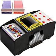 JCAsla 2 Deck Automatic Card Shuffler with 2 Pack Standard Poker Playing Cards,Electric Battery Operated Poker