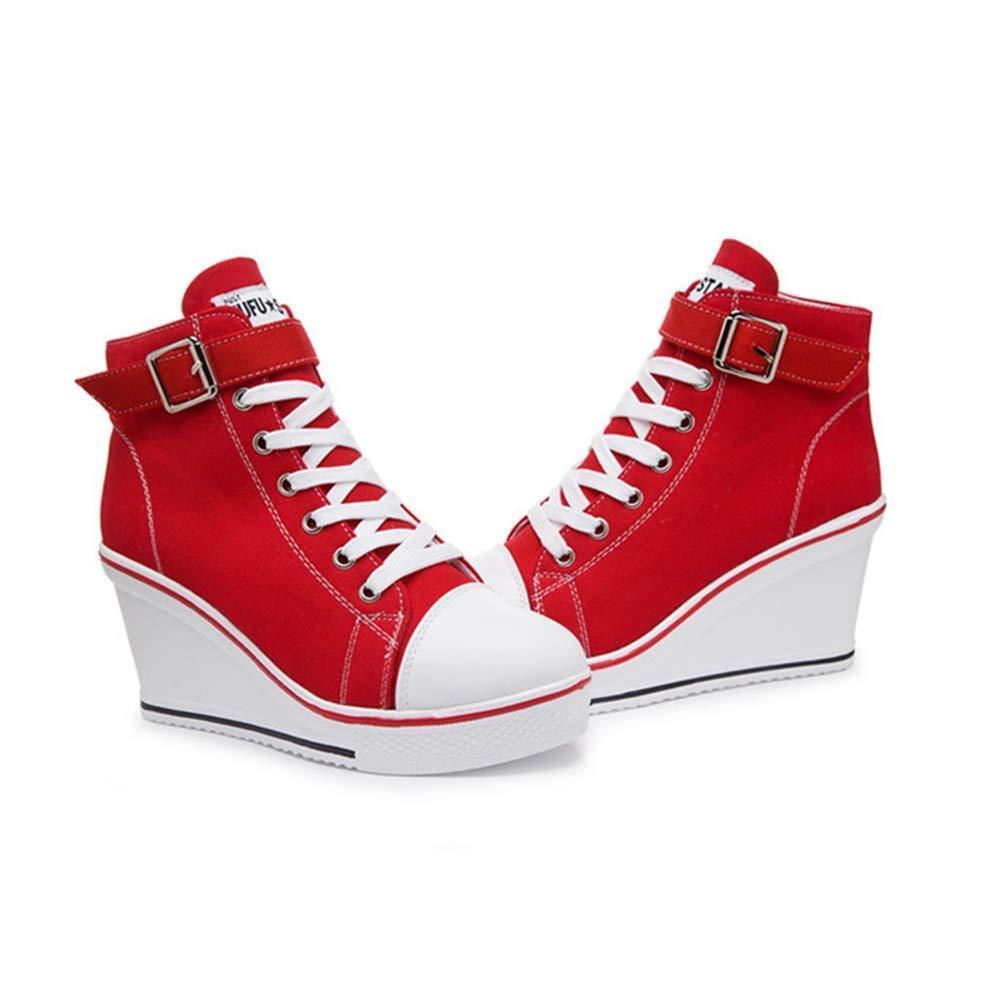ZHRUI ZHRUI ZHRUI Frauen Freizeitschuh Wedges Plattform Heels Sportschuhe Leinwand Lace Up Einfarbig Mädchen Turnschuhe (Farbe   Rot, Größe   4=37 EU) e45721