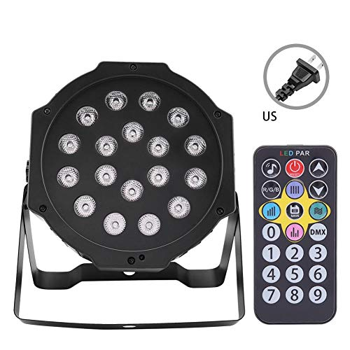 (LED RGB Stage Light Flat Par Lamp DJ Party Disco Light+Remote 7CH 18LED UV Stage Light Lamp Aluminum Alloy For Club US Plug 110V)