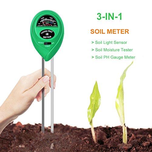 Soil Tester, Hompie 3-in-1 Soil Moisture Meter, PH Acidity Meter Light Tester Gardening Tool for Garden Farm Lawn Plant, Indoor or Outdoor, Fast Read & No Battery Needed, Great Gift for Christmas
