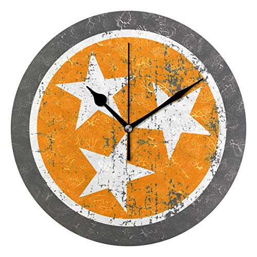 HCMusic Round Nashville Tennessee Wall Clock- Non Ticking Digital Quiet Sweep Clock, Decorative for Office Living Room Bedroom, 10 Inch