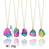 Exteren Natural Rainbow Irregular Quartz Stone Rock Pendant Crystal Gemstone Necklace Gold Plated Wire Wrap Birthstone Jewelry Gifts for Women Girls (A)