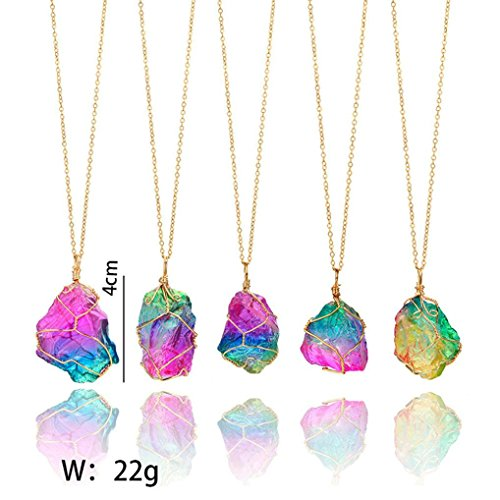 (Exteren Natural Rainbow Irregular Quartz Stone Rock Pendant Crystal Gemstone Necklace Gold Plated Wire Wrap Birthstone Jewelry Gifts for Women Girls (A))