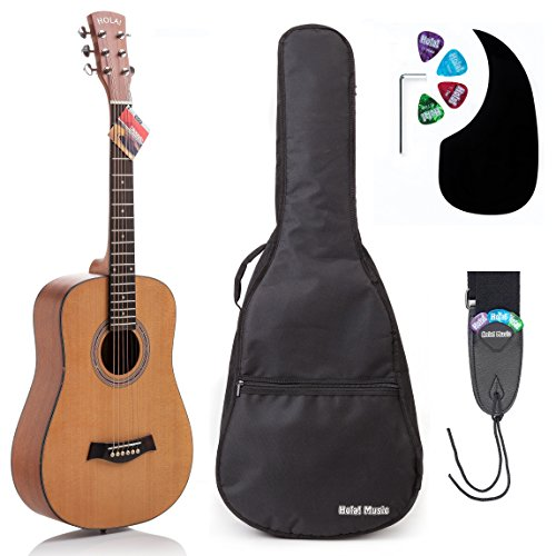 Acoustic Guitar Bundle Junior (Travel) Series by Hola! Music with D'Addario EXP16 Steel Strings, Padded Gig Bag, Guitar Strap and Picks, 3/4 Size 36 Inch (Model HG-36N), Natural Satin - Strap Guitar Satin