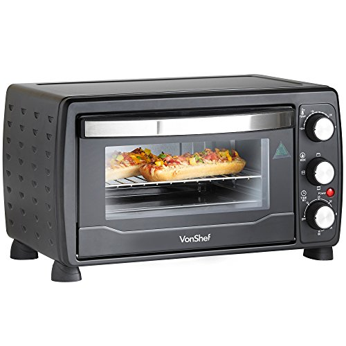 -[ VonShef 19L Black Mini Oven & Grill 1400W with Baking Tray & Wire Rack  ]-