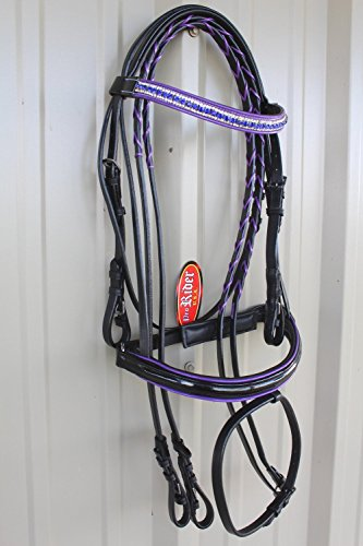 Cob Horse English Show Padded Bridle Crystal Bling Browband Purple 80311PR