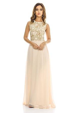 9a5dcef7f9b1e AX Paris Women's Sequin Top Chiffon Maxi Dress(Nude, Size:6) at Amazon  Women's Clothing store: