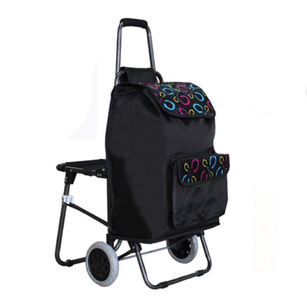 Shopping cart - large heavy truck, folding portable seat - luggage cart , rounds: black bottom c (send stretch rope)