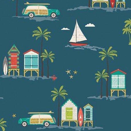 Tela verdiazul caseta playa colores palmera coche Offshore de Riley Blake: Amazon.es: Hogar