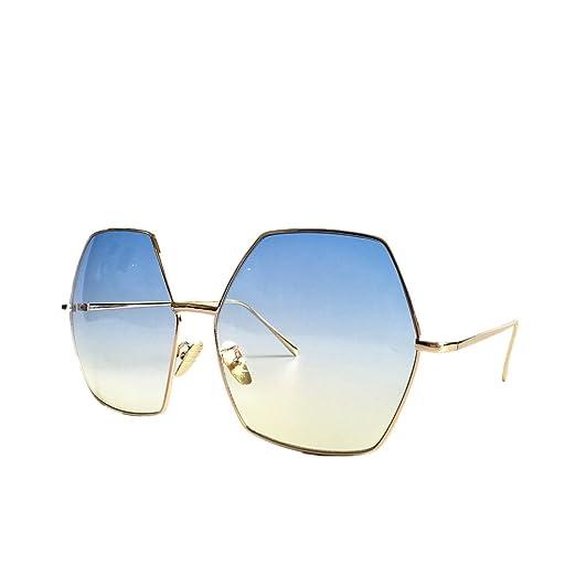 3a14f648ba61 MINCL/Oversized Metal Geometric Octagon Gradient Color Lens Hippie  Sunglasses -yhl (gold-
