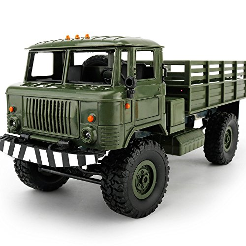 E-SCENERY WPL B-24 1:16 4WD 2.4GHz RC Military Truck, Wireless Remote Control Off Road Car Toy With USB Rechargeable Battery (Green)