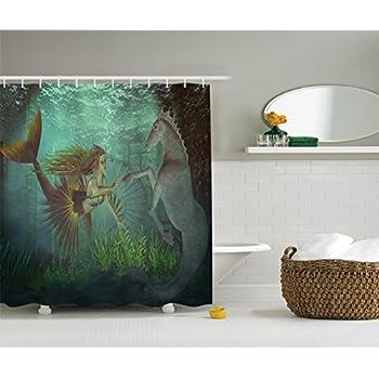 Mermaid Decor Shower Curtain Set By Ambesonne, Mermaid With Seahorse  Underwater World Fantasy Design,