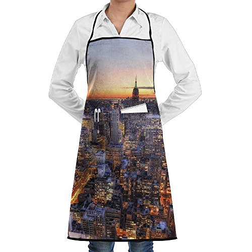 New York Center Rockefeller Apron Lace Unisex Mens Womens Chef Adjustable Polyester Long Full Black Cooking Kitchen Aprons Bib With Pockets For Restaurant Baking Crafting Gardening BBQ Grill]()